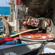 Stock Photo: Fishermen boats in small Italivillage