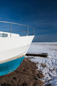Winter yacht waiting for the summer — Stok fotoğraf