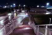 View from railroad bridge at night — Stock Photo