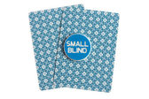 Small blind over casino cards on white — 图库照片