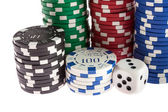 Casino chips, dice and dealer — Stock Photo