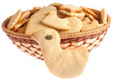 Basket of homemade cookies with bird cookie — Stock Photo