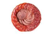 Chorizo and salchichon sausage on a plate — Stock Photo