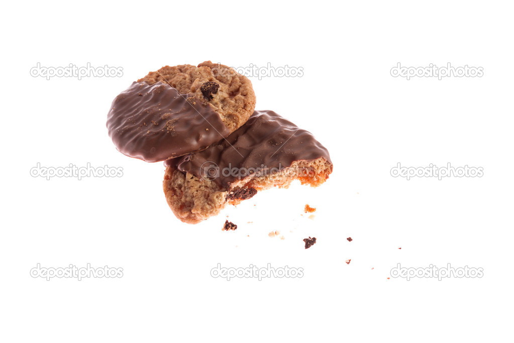 Chocolate cookies with crumbs isolated on white — Stock Photo #10642159