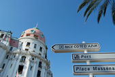 Road signpost in nice france — Stock Photo