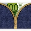 Foto Stock: Money in your pocket jeans symbolize accumulation of equity