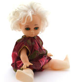 Nursery retro doll on white background — Stock Photo