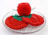 Products made spoke for knitting, on white background — Stock Photo
