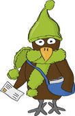 Cartoon crow the postman — Stock Vector