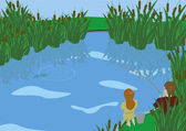 брат и сестра рыбалки — Cтоковый вектор