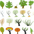 Many different cartoon trees — Stock Vector