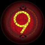 Digit 9 (nine). Nixie tube indicator — Stock Vector #9895273