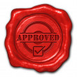 Stock Photo: Wax seal approved