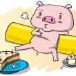 Stock Vector: Pig and cake