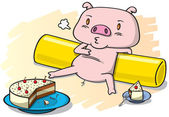 Pig and the cake — Stock Vector