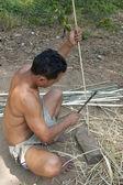 Man's Work in Muangeko Village — Stock Photo