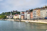 Homes by the Saone River in Lyon — Stock Photo
