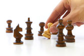 Hand Taking Chess Piece Pawn — Stock Photo