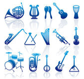 Icons of musical instruments — Stock Vector