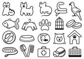 Pets care icon set — Stock Vector