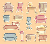 Stickers with furniture images — Stock Vector
