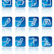 Stationery and office icons — Vector de stock #9793157