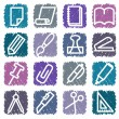Stationery and office icons — Vector de stock #9793381