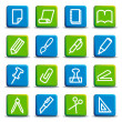 briefpapier en office-pictogrammen — Stockvector