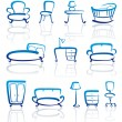 Furniture icons set — Stock Vector #9794144