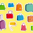 Bags and suitcases doodles on stickers - Stock Vector
