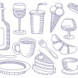 Food and Drinks doodles - Stock Vector