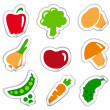 Stickers of vegetables — Stock Vector
