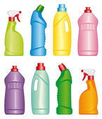 Bottles of cleaning products — Stock Vector