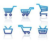 Carro de compras y los iconos de la cesta — Vector de stock