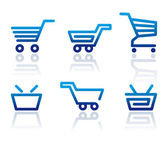 Winkelwagen en winkelmandje iconen — Stockvector