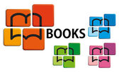 Books on buttons — Stock Vector