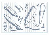 чертежи канцелярских товаров — Cтоковый вектор