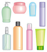 Bottles of cosmetic products — Stock Vector