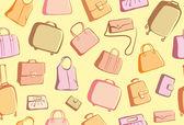 Sfondo di scarabocchi di borse e valigie — Vettoriale Stock