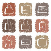 Bags and suitcases doodles — Stock Vector