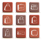 Bags and suitcases doodles on buttons — Stock Vector