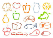 Outlines food icons — Stock Vector