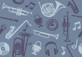 Background with wind musical instruments — Vector de stock