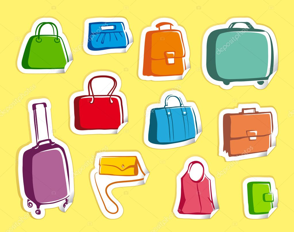 Sketches of bags and suitcases on stickers — Stock Vector #9794955
