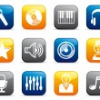 Audio and Music icons on buttons — Vector de stock #9874229