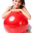 Woman with gym ball — Stock Photo