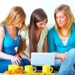 Beautiful girls with laptop — Stockfoto