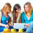 Beautiful girls with laptop — Stock fotografie
