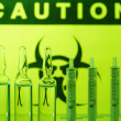 Stock Photo: Biohazard and ampules