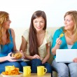 Beautiful girls meeting — Stock Photo